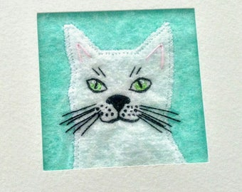 White fabric cat embroidered card - handmade fabric art card - 5 inch square card - white kitten greeting card