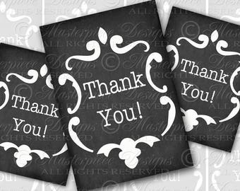 THANK YOU Printable Hang Tags / Eight 2.5x3.5 Inch Tags / Chalkboard Background - Printable Instant Download Digital JPG Collage Sheet