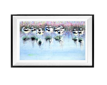 Avocet Shore Birds Watercolor Birds Watercolor Prints Wildlife Art Wall Art Decor Beach House Decor  WatercolorByMuren A