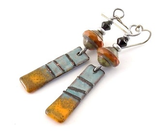 Rustic Blue and Orange Earrings, Enameled Earrings, Brass Earrings, Small Earrings, Blue and Orange,  Boho Earrings, Gypsy Earrings, AE194