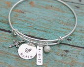 Personalized Confirmation Bangle, Communion Bracelet, Confirmation Gift, with Date Cross Dove Adjustable Bangle Hand Stamped Sterling Silver