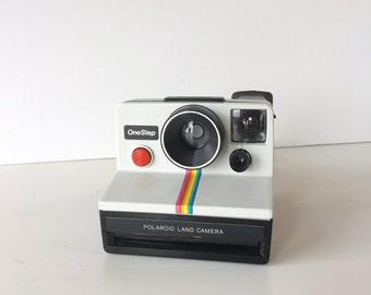 Working Polaroid OneStep Land Camera Rainbow Instagram SX-70 film White