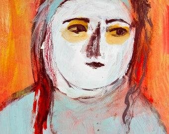 Fine Art Print, Giclee Art, from painting, modern wall art red turquoise, white face girl, by Ana Gonzalez