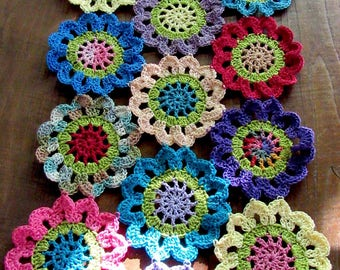 Make your ordinary dining look fancy Hand Crocheted Easter flowers Table-runner Doily made with cotton thread, multi colors .