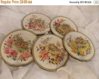 ON SALE Vintage Pimpernel Coasters~Set of 5~Made in England~Round Acrylic Coasters~United Kingdom~Cottage Cameos