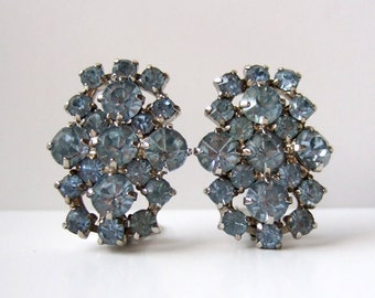 Pale Blue Rhinestone Earrings Large Rhinestone Jewelry Clip On Earrings Wedding Jewelry Coro Jewelry Vintage Coro Earrings
