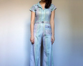 70s Jumpsuit Disco Jumpsuit Pastel One Piece Short Sleeve Jumpsuit 1970s Fitted Jumpsuit Women Onesie Festival Clothing - Extra Small XXS XS