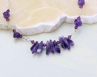 Amethyst Gemstone Necklace- February Birthstone, OOAK Purple Necklace, Unique, Crown Chakra, Amethyst Necklace, Sterling Silver, Handmade