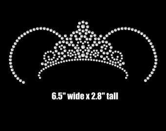 "6.5"" Minnie Mouse ears Princess tiara iron on rhinestone transfer"