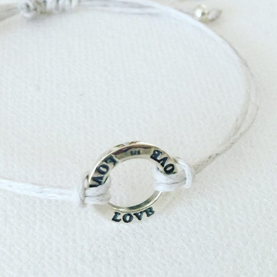 Sterling Silver Love & Grey Corded Bracelet