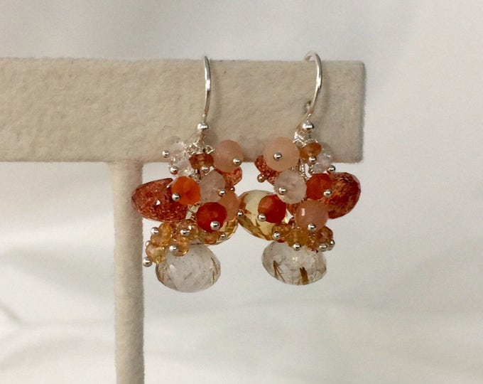 Citrine Gemstone Earrings in Sterling Silver with Rutilated Quartz, Sunstone, Moonstone, Carnelian, Padparadscha Sapphire