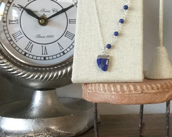 Asymmetrical Blue - Blue Lapis and Sterling Silver Necklace - Worn on The Vampire Diaries - Season 8, Episode 15