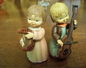 oh we are fine  musicians little girls Anri  toriart wood carvings italy