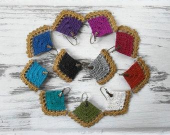 Jewel Tone & Gold 2 Tone Hand Painted Boho Diamond Fan Statement Earrings / Vintage Lightweight Upcycled Crochet Lace Jewelry / LTD Edition