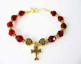 Ruby Red  SWAROVSKI Crystal Single Decade Irish ROSARY Bracelet-Ireland Bracelet