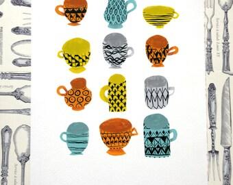 Coffee Cups // Teacups Illustration Print