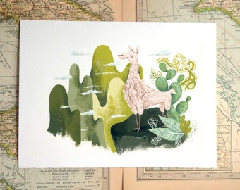 Peru Llama Machu Picchu Illustration Print