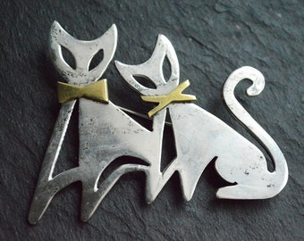 Vintage Taxco Sterling Silver Modernist Cat pin - cats with bowties - brooch