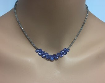 Labradorite Necklace with Tanzanite Briolettes in Sterling Silver