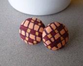 Vintage Fabric Covered Button Earrings - Peach + Burgundy + Plum