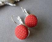 Holy Smokes Sale Vintage Red + White Polka Dot Fabric Dangle Earrings
