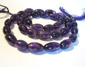 Natural dark purple Amethyst, smooth olive center drilled nugget, 14.5 inch full strand, 10.5-11.5mm (w36)