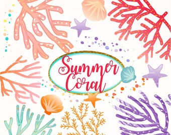 ON SALE Summer Coral clipart, coral clipart, summer Undersea Digital clipart, seashell digital clip art, instant download
