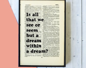 Edgar Allan Poe Quote -  A Dream Within a Dream - Book Page Art - Inspirational Quote - Framed Quotes - Framed Print - Book Lover Gift