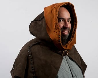 Brown leather real fur hood larp viking cosplay warcraft game of thrones costume fantasy medieval amazon warm ranger robin hood hunter druid