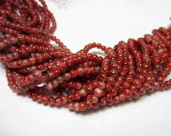 50 Red Glass Beads 4mm antique cinnabar red jewelry making supply HP- R010  (G1G3)