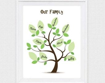 family tree printable - instant download - digital print diy kids activity, jpg and pdf, print at home do it yourself, artwork art keepsake