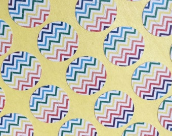 Hole Reinforcement Stickers, Round Labels, Gift Wrapping,  Embellishment, Rainbow Chevron pattern White Paper
