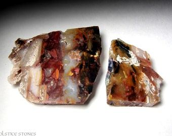 2 Rainbow Pietersite Slices, AA Grade Polished Slabs // Third Eye Chakra // Crystal Healing // Mineral Specimen