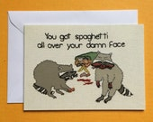 Raccoons Eating Spaghetti Embroidery Greeting Card