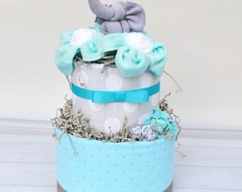 Elephant Diaper Cake, Elephant Baby Shower, Elephant Baby Shower Decoration, Neutral Elephant Shower, Baby Shower Centerpiece, Aqua & Gray