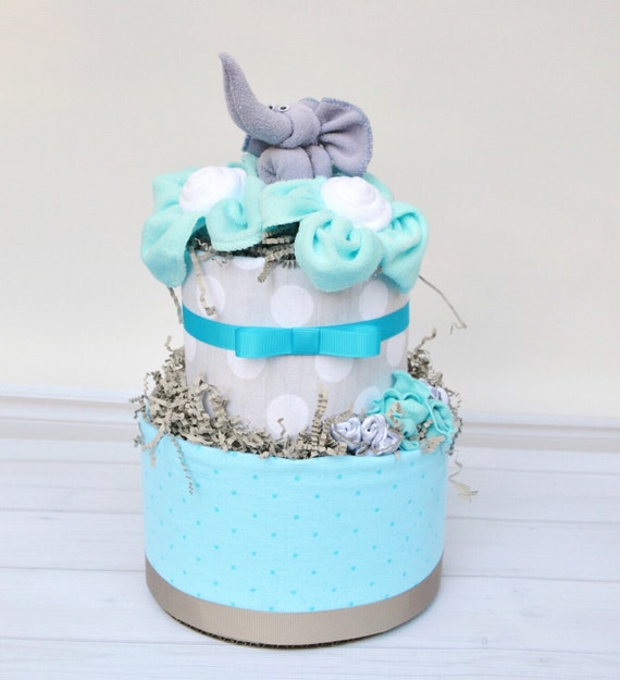 Elephant Diaper Cake, Elephant Baby Shower, Elephant Baby Shower Decoration, Neutral Elephant Shower, Baby Shower Centerpiece, Aqua & Gray
