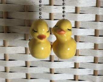 Yellow Baby Ducks - Ceiling Fan/Light Pull Set of 2 - Brass or Nickel Chain - USA