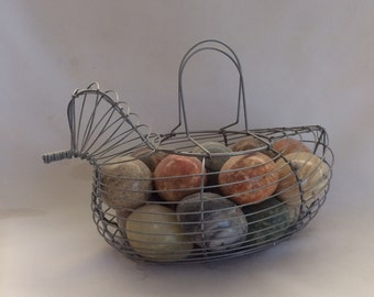 Vintage Chicken Shaped Wire Egg Basket