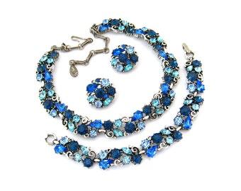 LISNER Rhinestone Necklace Bracelet Earrings Set • 1960s Signed Parure • Vintage Blue Jewelry