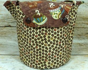 Coffee Break Brown -Medium Llayover Knitting Tote / Knitting, Spinning, Crochet Project Bag