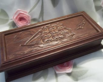 MINT Handsome Walnut Tone Wood Carved Ship Motif Jewelry Box - Mad Men - Dresser - Collectible - Vintage - Commodore Collection