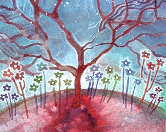 """Spiritual Fantasy Watercolor Painting """"Red Tree on Red Planet"""" ARCHIVAL ART PRINT"""