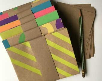 Kraft Envelopes (10) ... Neon  Colors A2 Handmade Bright Assortment Thank You Notes Blank Greetings Geometric Patterns Bold Stationery