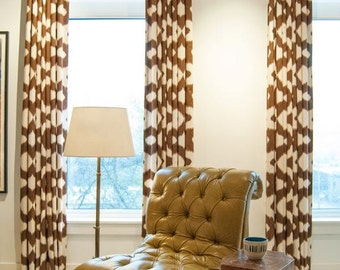 Duralee 20993-66 chocolate brown and ivory drapes, Walton Collection, designer curtain panels, drapes Duralee drapes