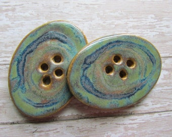 OVAL porcelain buttons, handcrafted buttons, green buttons, big buttons, ClassicBead buttons