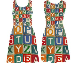 Vintage Alphabet Blocks Skater Dress - printed photographic childs wooden blocks alphabet - USA XS-3XL