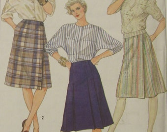 Simplicity 6954/Uncut Sewing Pattern/Misses Size 10 Front Wrap Skirts/1985
