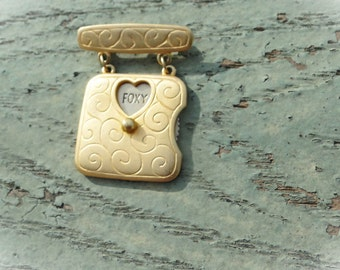 SALE Spinning LOVE Message Brooch Gold Tone
