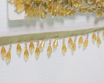 "Gold and Clear Color Designer Trim 1"" Long for edging curtains/cushions/throws/valances/Craft/Upholstery/Lampshades"