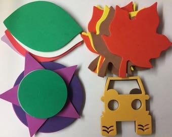 Jeep Leaves Star Circle Foam Shape/Stickers Scrapbook Planner Card Making